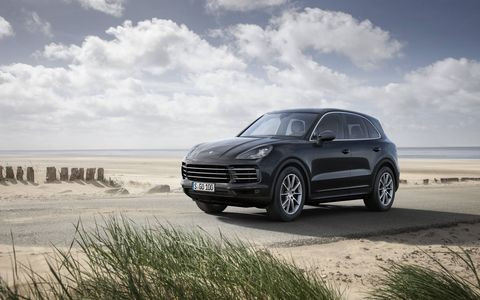 You won't be able to buy a 2019 Porsche Cayenne until the middle of 2018, but Porsche pulled the wraps off two V6 models last night in Stuttgart: the 3.0-liter single-turbo V6 Cayenne and the 3.0-liter twin-turbo V6 Cayenne S. The SUV gets a new 8-speed Tiptronic, optional 4-wheel steering and three choices of brake packages. Prices for these two models will be $66,750 and $83,950, respectively. No word on Turbo and Hybrid models.