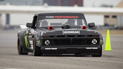 Ken Block's Hoonitruck features a Ford GT engine tweaked to make more than 900 hp.