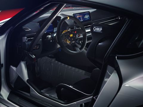 The GR Supra GT4 Concept is equipped with race specific parts such as roll cage, suspension, brake and rear-wings.