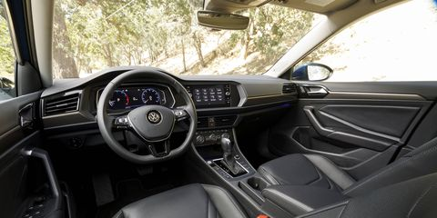 The 2019 Volkswagen Jetta SEL comes standard with 10-color interior ambient lighting, BeatsAudio and VW digital cockpit.
