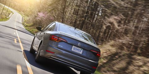 The 2019 Volkswagen Jetta only offers a 147-hp, 184-lb-ft I4, along with a six-speed manual or eight-speed automatic transmission.