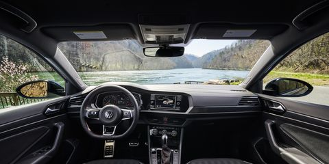 The 2019 Volkswagen GLI has an interior similar to its hatchback sibling.