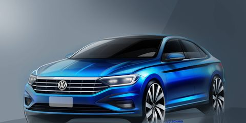 The 2019 Volkswagen Jetta will adopt a coupe-like profile and sharp beltline crease in its new design, expected to be shown at the Detroit auto show in January 2018.