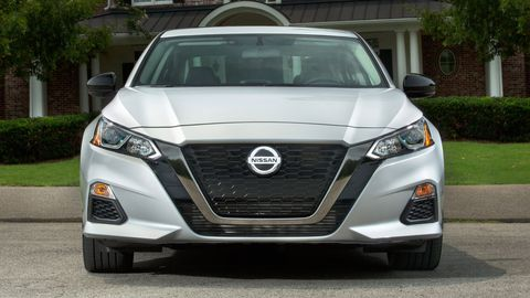 The 2019 Nissan Altima comes with either a 248-hp variable-compression turbo 2.0-liter four or a 188-hp 2.5-liter four. The SR trim is shown.