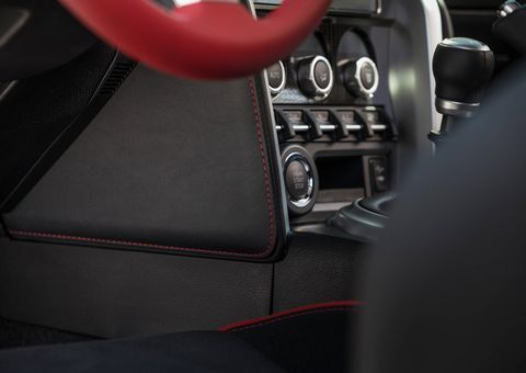 And the red steering wheel