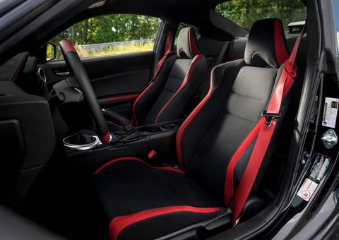 More red trim on black seats