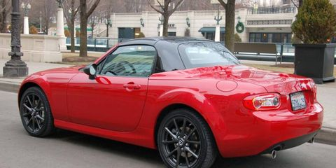 You can spot the 2012 Mazda MX-5 Special Edition by its contrasting black folding hard top.