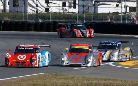 Scott Pruett leads a line of cars during practice for the Rolex 24 at Daytona.