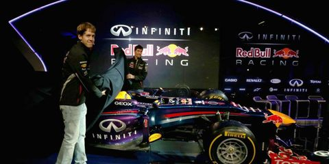 Sebastian Vettel, left, and Mark Webber unveil the RB9.