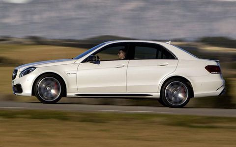 The Mercedes-Benz E63 AMG S-model 4Matic packs a twin-turbo V8 and all-wheel drive.