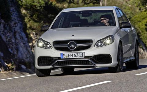 The Mercedes-Benz E63 AMG S-model 4Matic rolls with single-unit headlamps with LED accents.