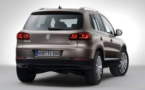 A rear view of the restyled Volkswagen Tiguan.