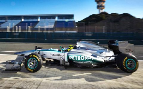 The Mercedes W04 heads out on a shakedown lap on Monday in Jerez.
