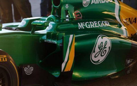 The sidepod of the Caterham C03.