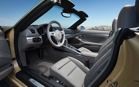 Upgrades include a heated steering wheel for added comfort in the 2013 Porsche Boxster S.