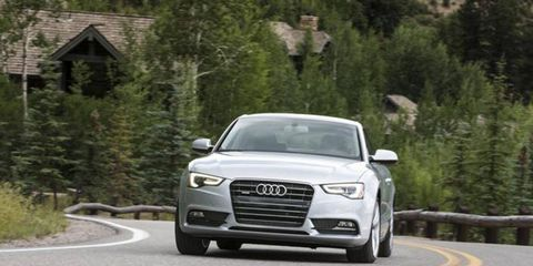 The 2013 Audi A5 Premium Plus coupe displays the LED daytime running lamps.