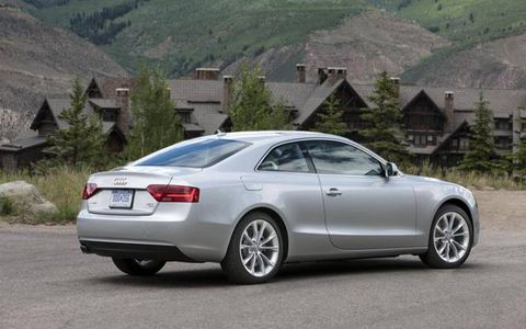 The 2013 Audi A5  Premium Plus coupe sports a set of 19-inch tires with 10-spoke rim design.