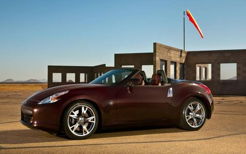 The 3.7-liter V6 in the 2013 Nissan 370Z Roadster Touring makes 332 hp and 270 lb-ft of torque.