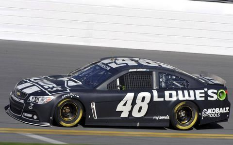 Ready to rock: Jimmie Johnson testing at Daytona International Speedway ahead of the upcoming Sprint Cup Series season.