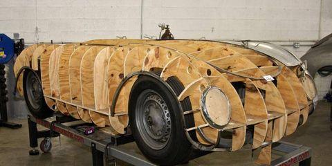 Chassis and body buck for a 1952 Glöckler Porsche recreation at Steve Hogue Enterprises.