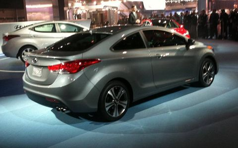 A rear view of the Hyundai Elantra coupe.