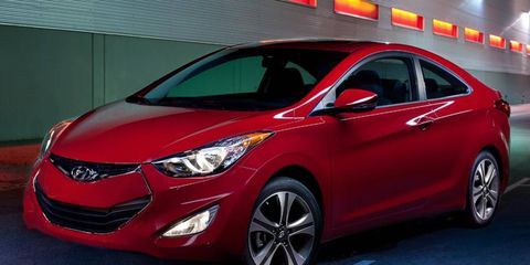 The four-cylinder engine in the Hyundai Elantra coupe is rated at 148 hp.