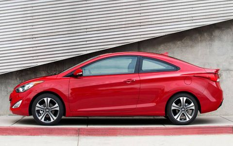"""The Elantra coupe uses Hyundai's """"fluidic sculpture"""" styling theme."""
