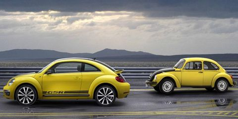 The 2014 Volkswagen Beetle GSR draws inspiration from the 1973 Beetle.