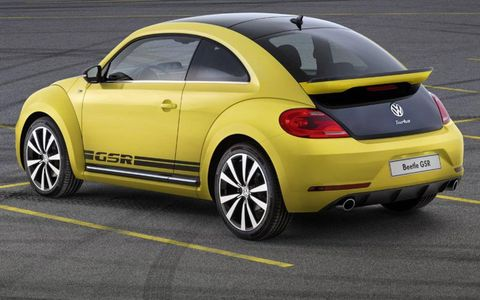 A rear view of the 2014 Volkswagen Beetle GSR.