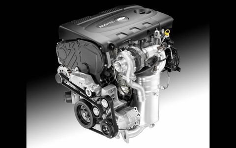 The 2.0-liter diesel engine in the Chevrolet Cruze is rated at 148 hp and 258 lb-ft of torque.