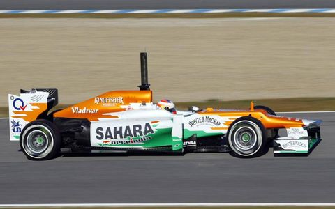 Force India's new car speeds around the Jerez circuit during testing on Feb. 7.