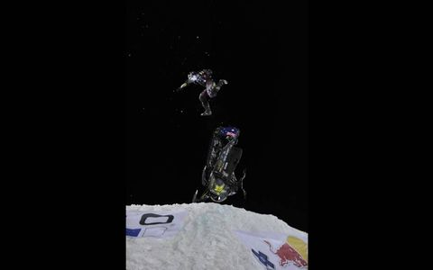 BIG AIR // Jackson Strong competes in the GoPro Snowmobile Best Trick Final during X Games Aspen 2013.Photo by: Eric Bakke