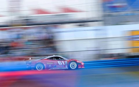 STREAKING STALLION // The number 61 Ferrari of Max Papis, Giancarlo Fisichella, Tony Vilander and Jeff Segal charges down a straight in Daytona.Photo by: LAT Photographic