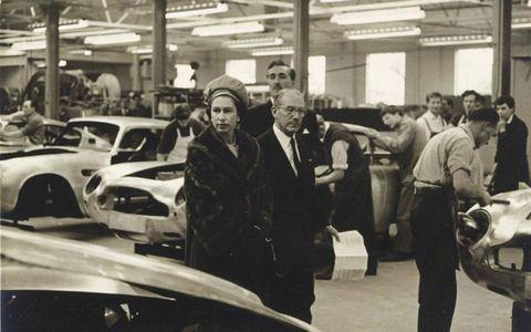 David Brown hosts Queen Elizabeth II at the Aston works.