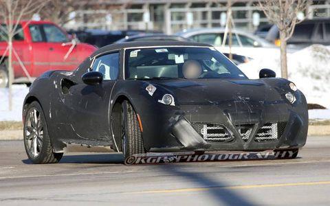 Spy shots show an Alfa Romeo 4C testing in Michigan.
