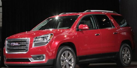 The 2013 GMC Acadia was unveiled at the Chicago auto show.