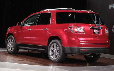 A rear view of the 2013 GMC Acadia.