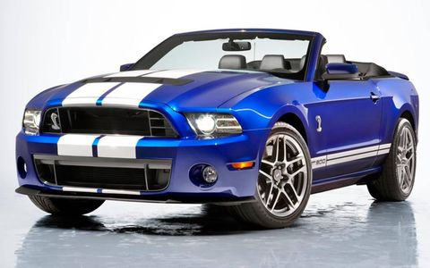 The 2013 Ford Mustang Shelby GT500 convertible carries a six-speed manual transmission.