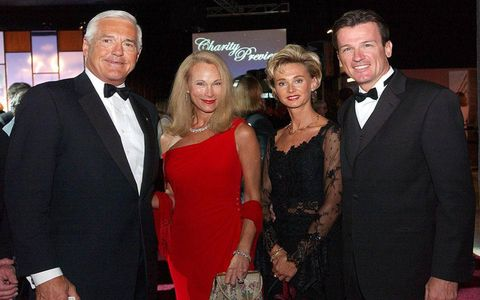 Bob Lutz and his wife, Denise, stood with then Chrysler Group COO Wolfgang Bernhard and his wife, Eva, during the black tie preview at the Detroit auto show in 2004.