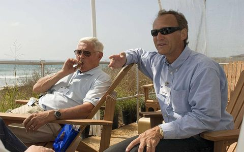 Lutz sits with Larry Burns, head of GM's advanced r&d, during a media program in California touting GM's hydrogen technologies in 2006.
