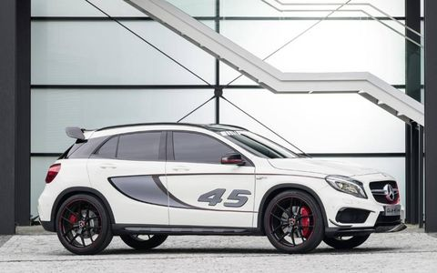 The turbo 2.0-liter four-cylinder comes from the brand's CLA45 AMG performance sedan, making 355 hp and peak torque of 332 lb-ft.