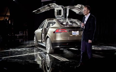 Elon Musk discusses the new Model x at its unveiling on February 9th, 2012 at Tesla's design center in Hawthorne, CA