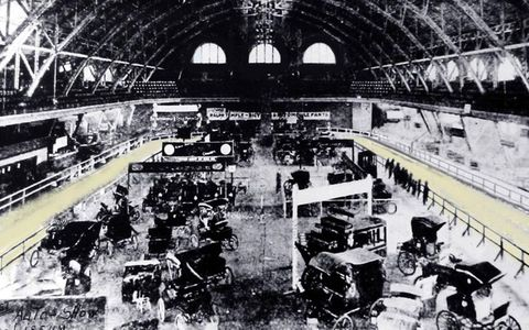 1901: First Chicago Auto Show. A bird's eye view of the Coliseum during Chicago's first official auto show, March 23-30, 1901