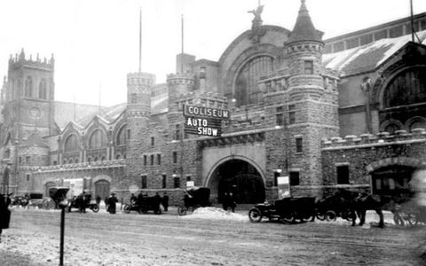 1903: Coliseum. The castle-like entranceway of Chicago's Coliseum exhibition hall was located on Wabash Avenue, between 15th and 16th St.