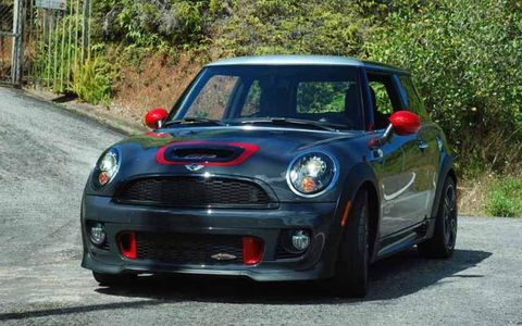 GP graphics are placed on the hood and lower door panels of the 2013 Mini John Cooper Works GP.