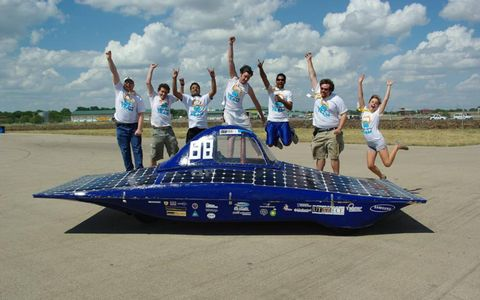 Participants of the July 2010 solar-car competition.