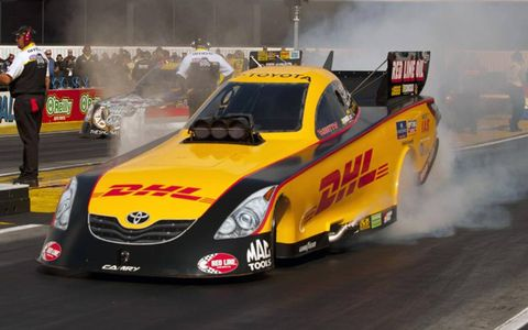 Jeff Arend starts his run at Pomona during NHRA qualifying Saturday,.