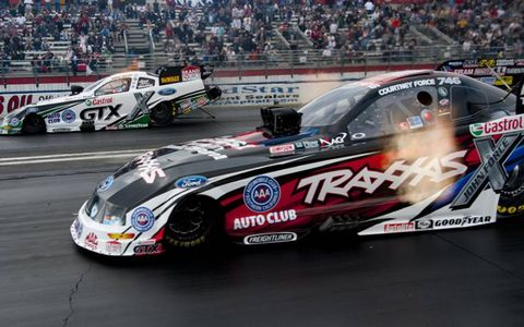 Courtney Force, right, who won her first NHRA race on Sunday, lost to Mike Neff.