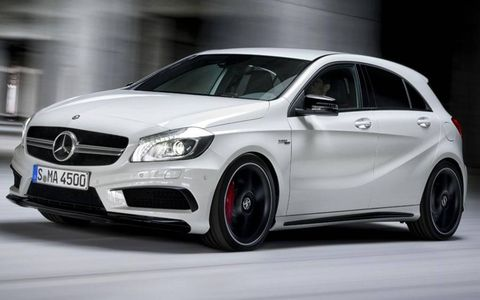 The Mercedes-Benz A45 AMG makes its debut at the Geneva motor show. It won't be sold in the United States.