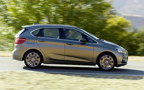 At 171.0 inches in length, 70.9 inches in width and 61.2 inches in height, the 2-series Active Tourer is 0.7 inches longer, 2.2 inches wider and a considerable 5.3 inches taller than BMW's entry level 1-series hatchback.